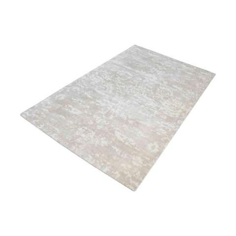 Senneh Handwoven Wool Printed Rug In Beige And White - 5ft x 8ft