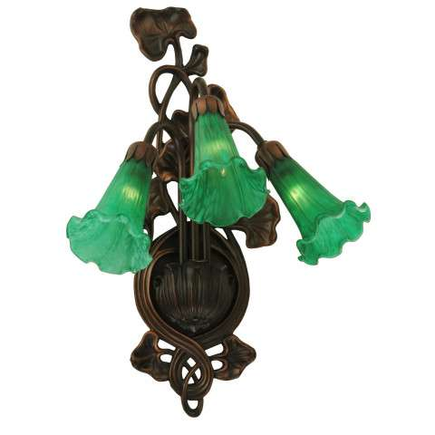 Meyda Tiffany 17537 Green Pond Lily 3 Lt Wall Sconce in Mahogany Bronze finish
