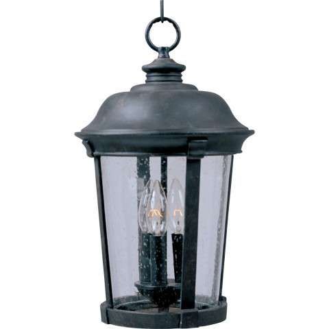 Maxim 40099CDBZ Dover VX 3-Light Outdoor Hanging Lantern in Bronze with Seedy glass.