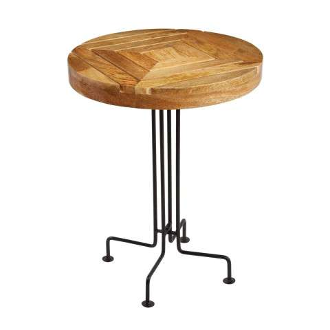 Natural Mango Wood Slatted Accent Table