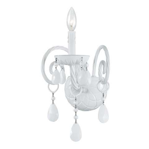 Crystorama 1071-WW-WH-MWP All White glass arm Wall Sconce