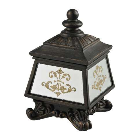 Sterling Furnishings 87-8002 Bronze Box With Damask Printed Mirror