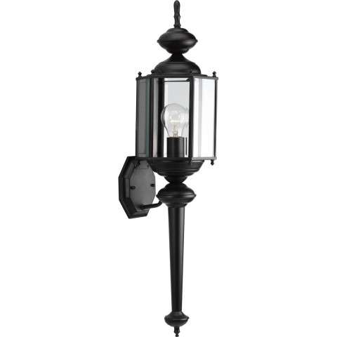 Progress P5831-31 One-light wall lantern in Black finish with clear beveled glass.