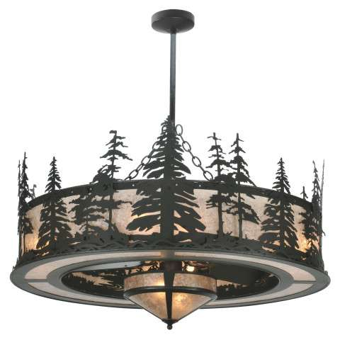 "Meyda 44"" Tall Pines Chandel-Air w/Fan Light in Black Iron and Silver Mica w/Oil Bronze Fan"