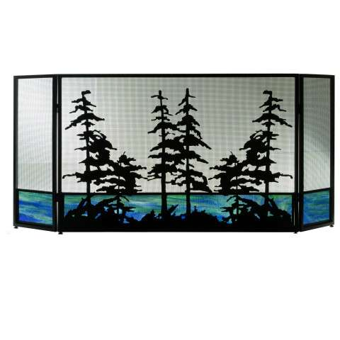 "Tall Pines Folding Fireplace Screen - 72"" Wide x 32.5"" Tall"