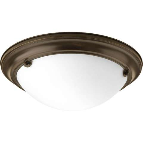 Eclipse Antique Bronze 2-Lt. close-to-ceiling fixture. with Satin white glass bowl
