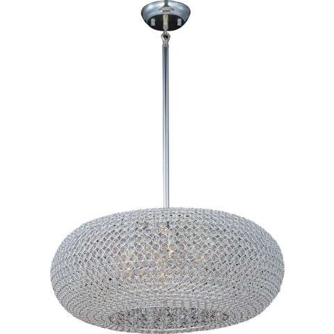 Maxim 39879BCPS Glimmer 9-Light Pendant in Plated Silver with Beveled Crystal glass.