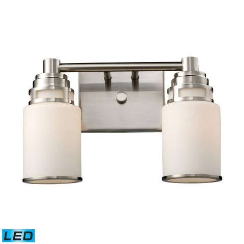 Bryant 2-Light Vanity In Satin Nickel - LED - 800 Lumens (1600 Lumens Total) With Full Scale Dimmi…