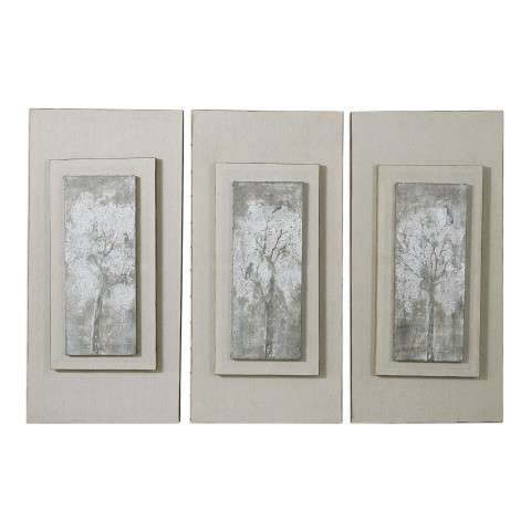 Triptych Trees Hand Painted Art Set/3