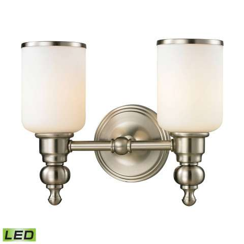 Bristol Collection 2 light bath in Brushed Nickel - LED - 800 Lumens (1600 Lumens Total) With Ful…