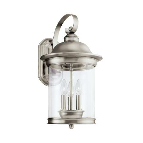 Hermitage - Three Light Outdoor Wall Lantern in Antique Brushed Nickel
