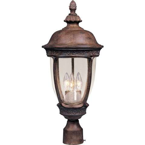 Maxim 40461CDSE Knob Hill VX 3-Light Outdoor Pole/Post Lantern in Sienna with Seedy glass.