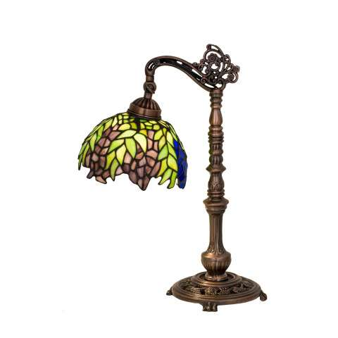 Meyda Tiffany 27167 Tiffany Honey Locust Bridge Arm Desk Lamp in Mahogany Bronze finish