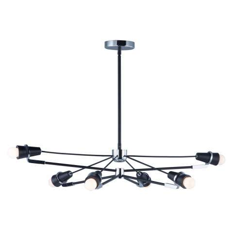 Bounce LED 6-Light Pendant in Black and Polished Chrome