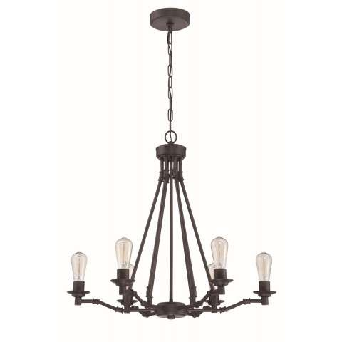Hadley 6 Light Chandelier in Aged Bronze Brushed