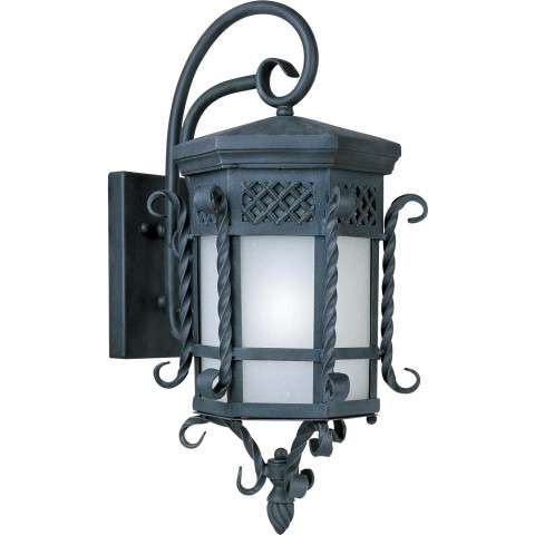Scottsdale EE 1-Light Outdoor Wall Lantern in Country Forge w/Frosted Seedy Shade