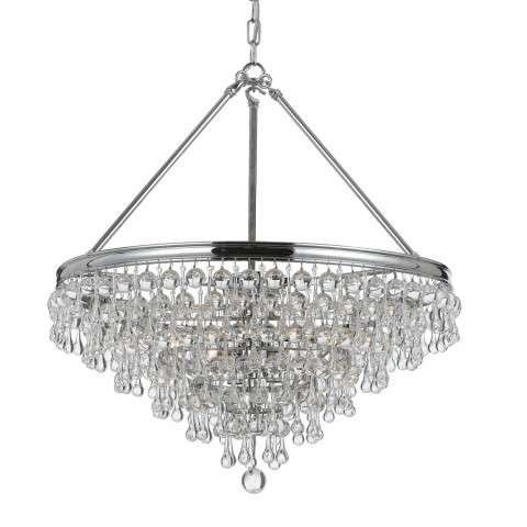 Crystorama 136-CH Chandelier with Clear smooth glass balls accents with Polished Chrome finish on a solid brass frame.