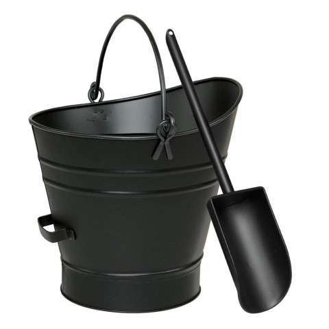 Coal Hod / Pellet Bucket w/ Scoop - PC - Black
