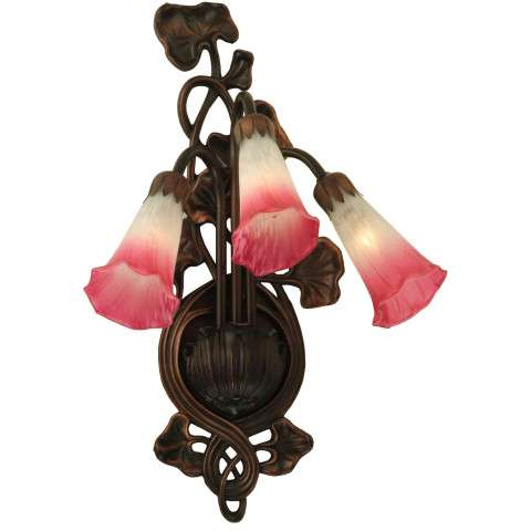 Meyda Tiffany 11318 Pink/White Pond Lily 3 Lt Wall Sconce in Mahogany Bronze finish