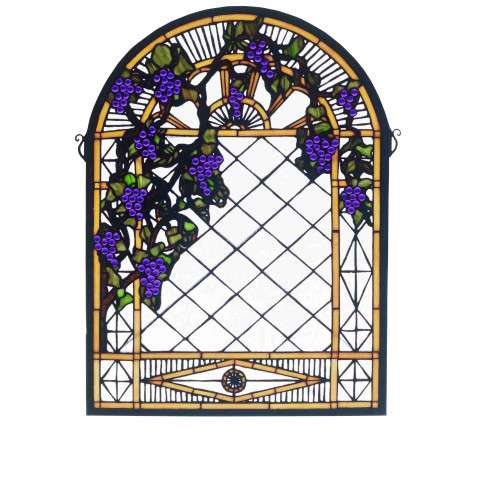 Meyda Tiffany 38656 Grape Diamond Trellis Stained Glass Window in Bark Brown finish