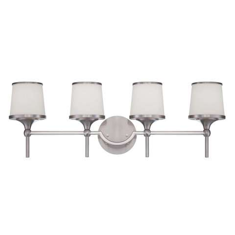 Savoy House 8-4385-4-SN Hagen 4 Light Bath Bar in Satin Nickel Finish with White Etched glass