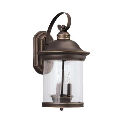 Hermitage - Three Light Outdoor Wall Lantern in Antique Bronze
