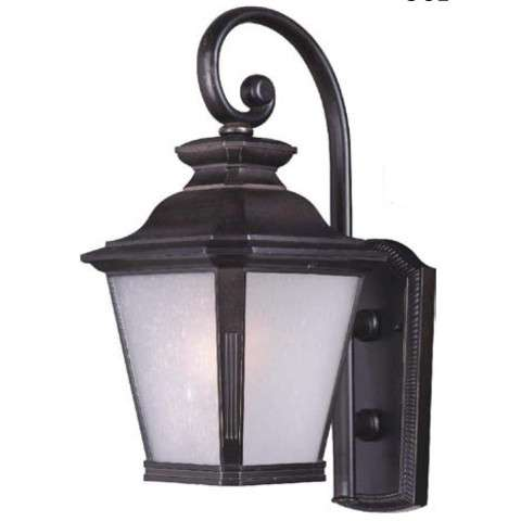 Knoxville LED 1-Light Outdoor Wall Lantern in Bronze w/Frosted Seedy Glass