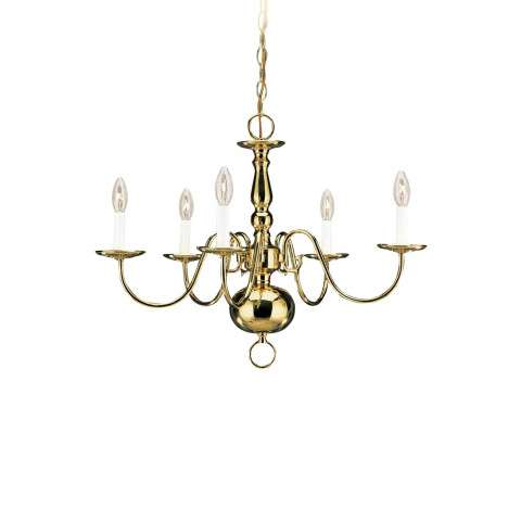 Seagull Lighting 3410-02 Five-Light Traditional Chandelier in Polished Brass finish