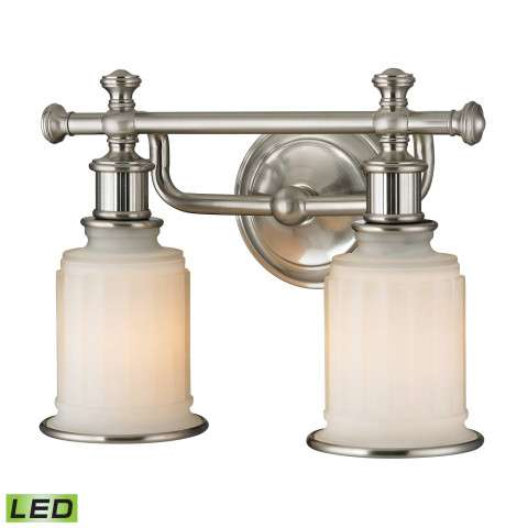Acadia Collection 2 light bath in Brushed Nickel - LED - 800 Lumens (1600 Lumens Total) With Full…
