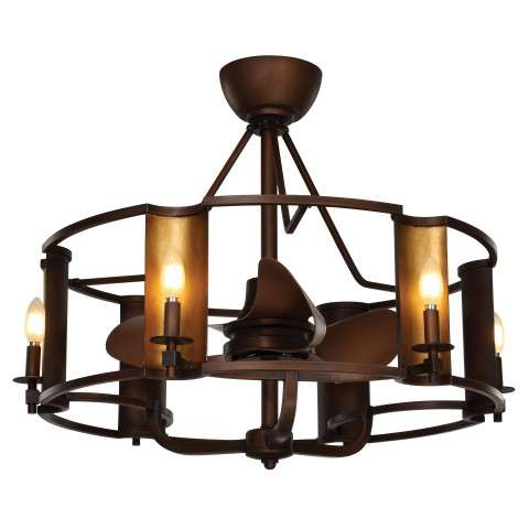 Maxim 60012CHBGLD Candella 6-Light LED Fandelier in Chestnut Bronze with Gold Accents
