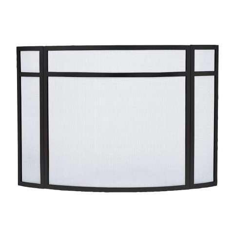 "Bowed Panelled Fireplace Screen in Black - 48"" Wide x 31"" Tall"