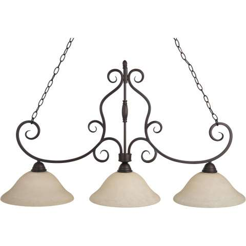 Maxim 12208FIOI Manor 3-Light Pendant in Oil Rubbed Bronze with Frosted Ivory glass.