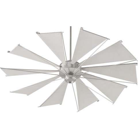 Quorum 60 Inch Mykonos Windmill Ceiling Fan Model 66010-65 in Satin Nickel with Gray Canvas Blades.