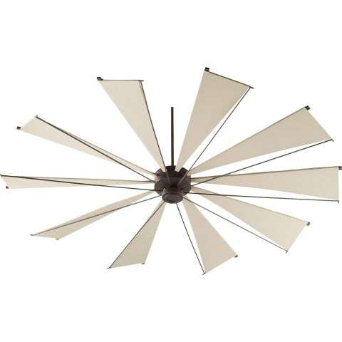 Quorum 92 Inch Mykonos Windmill Ceiling Fan Model 69210-86 in Oiled Bronze  with Khaki Canvas Blades.