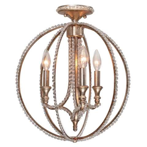 Crystorama 6763-DT Ceiling mount - flush mount with clear beads and Distressed Twilight finish.