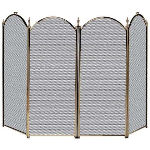"4 Fold Antique Brass Screen - 52"" Wide x 32"" Tall"