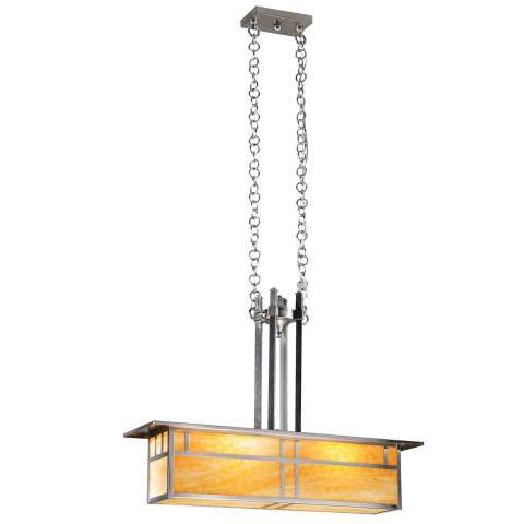 Meyda Tiffany 106377 Double Bar Mission Oblong Pendant in Brushed Nickel finish
