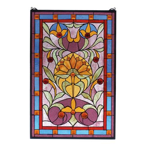 Meyda Tiffany 72968 Picadilly Stained Glass Window in Copperfoil finish with Amber Jewels