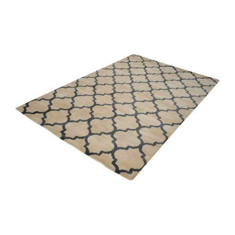 Wego Handwoven Printed Wool Rug In Natural And Black - 3ft x 5ft