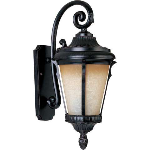 Odessa LED 1-Light Outdoor Wall Lantern in Espresso w/Latte Glass