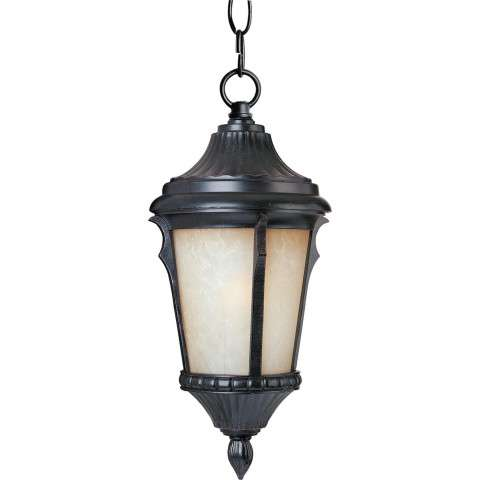 Maxim 3018LTES Odessa Cast 1-Light Outdoor Hanging Lantern in Espresso with Latte glass.