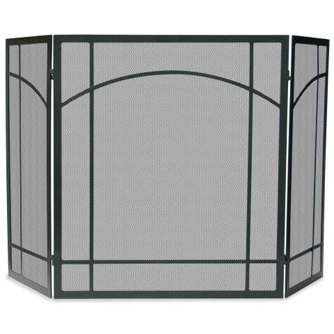 "3 Fold Black Wrought Iron Mission Screen - 55"" Wide x 31"" Tall"