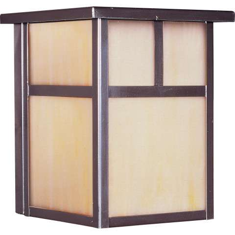 Coldwater LED 1-Light Outdoor Wall Lantern in Burnished w/Honey Glass