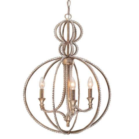 Crystorama 6765-DT Chandelier with clear beads and Distressed Twilight finish.