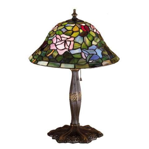 Meyda Tiffany 26321 Tiffany Rosebush Accent Lamp in Mahogany Bronze finish