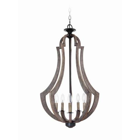 Craftmade Exteriors Winton - Weathered Pine 5 Light Entry in Weathered Pine