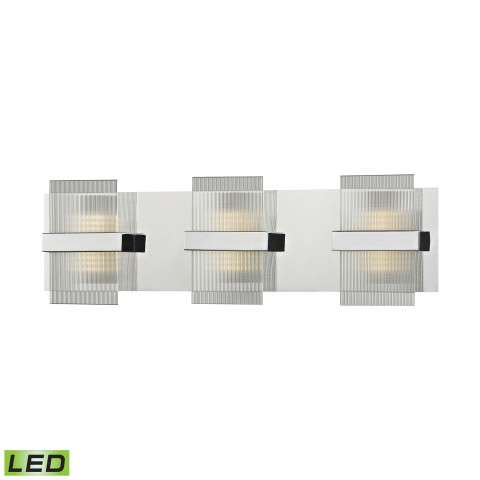 Desiree Led Vanity In Polished Chrome With Clear Lined Glass