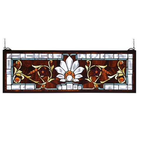 Meyda Tiffany 73063 Beveled Ellsinore Transom Stained Glass Window in Copperfoil finish