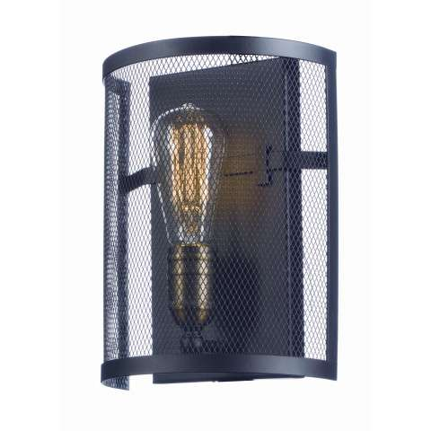 Palladium 1-Light Wall Sconce w/Bulbs in Black / Natural Aged Brass