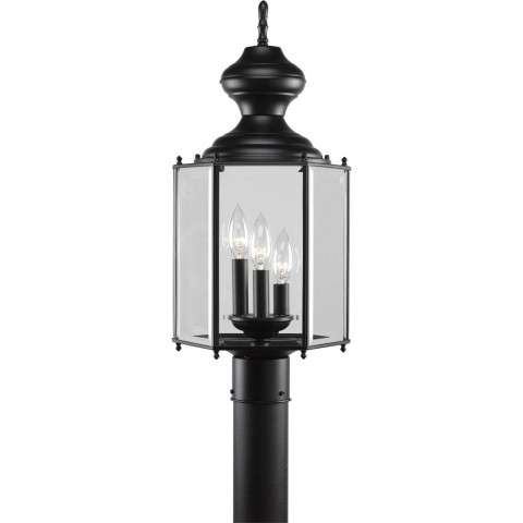 Progress P5432-31 Three-light post lantern in Black finish with clear beveled glass.